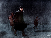 0044392 © Granger - Historical Picture ArchiveVLADIMIR LENIN (1870-1924).   Vladimir Ilich Ulyanov, known as Lenin. Russian Communist leader. Lenin going into exile, December 1907. Oil on canvas, 1937, by Arkady Alexandrovich Rylov.