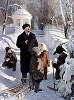 0268940 © Granger - Historical Picture ArchiveVLADIMIR LENIN (1870-1924).   Vladimir Ilich Ulyanov, known as Lenin. Russian Communist leader. Lenin with children in Gorki, observing bullfinches in a tree. Painting, 1954, by Vladimir Sergeyevich Bulankin (1921-1974).