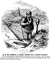 0074416 © Granger - Historical Picture ArchiveFERDINAND de LESSEPS   (1805-1894). Vicomte Ferdinand Marie de Lesseps. French diplomat and promoter of the Suez and Panama Canals. 'Is M. de Lesseps a Canal Digger or a Grave Digger?' Cartoon comment by Thomas Nast, 1881, on the high rate of mortality and illness among workers on the Panama Canal project.