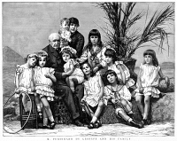0354507 © Granger - Historical Picture ArchiveFERDINAND DE LESSEPS   (1805-1894). Vicomte Ferdinand Marie de Lesseps. French diplomat and promoter of the Suez and Panama Canals. Lesseps and his family. Engraving, English, 1887.