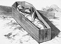 0065374 © Granger - Historical Picture ArchiveJOHN DOYLE LEE (1812-1877).   American Mormon leader. Lee's body lying in a coffin at Mountain Meadow, Utah, immediately after his execution by firing squad, 23 March 1877, for complicity in the massacre which took place there in September 1857. Wood engraving from a contemporary American newspaper.