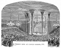 0069704 © Granger - Historical Picture ArchiveJENNY LIND (1820-1887).   Swedish soprano singer. Jenny Lind taking a bow after a performance at Castle Garden, New York, in 1850. Wood engraving, 19th century.