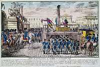 0127220 © Granger - Historical Picture ArchiveLOUIS XVI (1754-1793).  King of France, 1774-1792. The execution of Louis XVI at the Place de la Concorde, Paris, 21 January 1793. Engraving from 'La Revolution Francaise,' by Pierre Berthault.