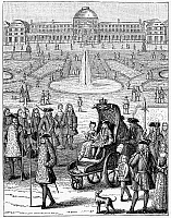 0055510 © Granger - Historical Picture ArchiveLOUIS XV (1710-1774).   King of France, 1715-1774. The child king going for a ride in the garden of the Tuilleries. Wood engraving, French, 19th century.