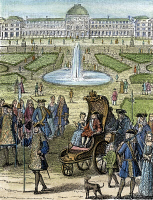 0057456 © Granger - Historical Picture ArchiveLOUIS XV (1710-1774).   King of France, 1715-1774. The child king going for a ride in the garden of the Tuilleries in Paris. Wood engraving, French, 19th century.
