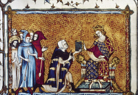 0020878 © Granger - Historical Picture ArchiveLOUIS X (1289-1316).   King of France, 1314-1316. As King Louis I of Navarre, 1309, receiving an account of the life of King Louis IX from its author, Jean de Joinville (1224-1317). French ms. illumination, c1340.