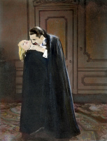 0049526 © Granger - Historical Picture ArchiveBELA LUGOSI AS DRACULA, 1931.   Bela Lugosi (1884-1956) as Count Dracula with Helen Chandler as one of his victims in Tod Browning's film version of 'Dracula,' 1931.