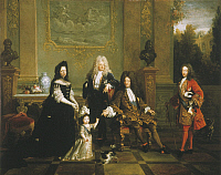 0033096 © Granger - Historical Picture ArchiveLOUIS XIV (1638-1715).   King of France, 1643-1715. Louis XIV (seated) and his heirs. The Duc d'Anjou, the future King Louis XV, is shown at left with his governess, Madame de Ventadour. Oil on canvas, French school, c1715-20.