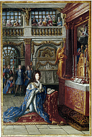 0127100 © Granger - Historical Picture ArchiveLOUIS XIV (1638-1715).   King of France, 1643-1715. Louis XIV kneeling in a chapel. French painting, 17th century.