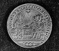 0127182 © Granger - Historical Picture ArchiveLOUIS XIV (1638-1715).  King of France, 1643-1715. The king with his son, meeting with Swiss delegates. Bronze medallion commemorating the French alliance with Switzerland, 1663.