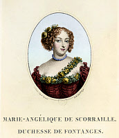 0185177 © Granger - Historical Picture ArchiveMARIE-ANGÉLIQUE DE ROUSILLE.   Marie-Angélique de Scorailles de Rousille, Duchess of Fontanges (1661-1681). Mistress of King Louis XIV of France. Line and stipple engraving, 1687, digitally colored by Granger, NYC -- All rights reserved.