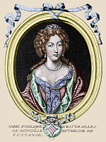 0185178 © Granger - Historical Picture ArchiveMARIE-ANGÉLIQUE DE ROUSILLE.   Marie-Angélique de Scorailles de Rousille, Duchess of Fontanges (1661-1681). Mistress of King Louis XIV of France. Line engraving, 1687, digitally colored by Granger, NYC -- All rights reserved.