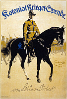 0130081 © Granger - Historical Picture ArchivePAUL VON LETTOW-VORBECK   (1870-1964). German general. Poster for Colonial War Funds, featuring Lettow-Vorbeck on horseback, leading African soldiers. Lithograph, 1918.