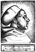 0005811 © Granger - Historical Picture ArchiveMARTIN LUTHER (1483-1546).   German religious reformer. Luther as an Augustinian monk. Woodcut by Hieronymus Hopfer, 1523.