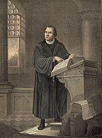 0174613 © Granger - Historical Picture ArchiveMARTIN LUTHER (1483-1546).   German religious reformer. Luther at the pulpit, reading from a Bible. Lithograph after a painting, 1882, by Friedrich W. Wehle.