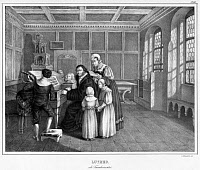 0528806 © Granger - Historical Picture ArchiveMARTIN LUTHER (1483-1546).   German religious reformer. Luther with his wife and children, c1540. Lithograph, 1830.