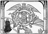 0054630 © Granger - Historical Picture ArchiveJOHN LYDGATE (c1370-c1451).   English poet. Lydgate contemplating the Wheel of Fortune. Woodcut from a 1513 edition of his work 'The Fall of Princes.'