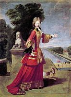 0126830 © Granger - Historical Picture ArchiveMARIE ADELAIDE OF SAVOY   (1685-1712). Princess of Savoy and Piedmont and Duchess of Burgundy; mother of King Louis XV of France. In a hunting dress with a dog, standing before the grand canal at the Château de Fontainebleau. Oil on canvas, c1704, by Pierre Gobert.