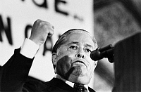 0170478 © Granger - Historical Picture ArchiveJOSEPH MONTOYA (1915-1978).   American politician. Senator Montoya criticizing the Nixon administration on its policy on Latin America during the Labor Council for Latin American Advancement dinner in Washington, D.C., 1973.