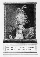 0350576 © Granger - Historical Picture ArchiveBARTRAM: SEMINOLE CHIEF.   Mico Chlucco, the Long Warrior, an Oconee Seminole chief in northern Florida. Aquatint, 1791, by James Trenchard, from the frontispiece of William Bartram's 'Travels Through North & South Carolina, Georgia, East & West Florida,...,' after a drawing by Bartram, c1774.