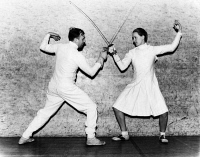 0526730 © Granger - Historical Picture ArchiveHELENE MAYER (1910-1953).   German fencer. Photographed with opponent Ferrand Leicester, 1935.