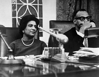 0528066 © Granger - Historical Picture ArchiveCONSTANCE BAKER MOTLEY   (1921-2005). American civil rights activist, lawyer, judge, and politician. Photographed with Randolph Rankin at a City Hall budget meeting in New York City, February 1965.
