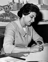 0528067 © Granger - Historical Picture ArchiveCONSTANCE BAKER MOTLEY   (1921-2005). American civil rights activist, lawyer, judge, and politician. Photographed in her office as the first female and first African-American Borough President of Manhattan. Photograph, April 1965.