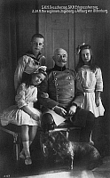 0322116 © Granger - Historical Picture ArchiveFREDERICK AUGUSTUS II   (1852-1931). Grand Duke of Oldenburg. Photographed with his children, Nikolaus, Ingeborg Alix and Altburg Marie Mathilde, c1910.