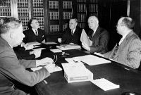 0623497 © Granger - Historical Picture ArchiveBYRON PRICE (1891-1981).   American reporter and editor, Director of Censorship during World War II. Price (second from right), seated with members of the Senate Judiciary Committee. Photograph, 1942.