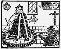 0015340 © Granger - Historical Picture ArchiveFAUSTUS & MEPHISTOPHELES.   Woodcut from the 1631 edition of Christopher Marlowe's 'The Tragical History of Doctor Faustus.'