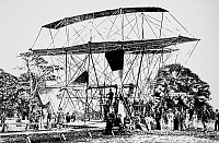 0038462 © Granger - Historical Picture ArchiveSIR HIRAM STEVENS MAXIM   (1840-1916). Naturalized British (American-born) inventor. Sir Hiram's 360-horsepower giant flying machine shortly before its unsuccessful test flight in 1894. Contemporary American line engraving.