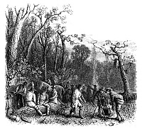 0038349 © Granger - Historical Picture ArchiveFRANCIS MARION (1732?-1795).   American Revolutionary soldier and commander. Fancis Marion, known as 'the Swamp Fox' and his men at their camp in South Carolina during the American Revolutionary War. Wood engraving, American, 1881.