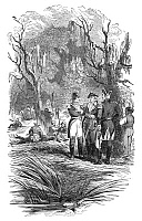 0038365 © Granger - Historical Picture ArchiveFRANCIS MARION (1732?-1795).   American Revolutionary soldier. Marion's encampment on the Peedee River. Wood engraving, 19th century.