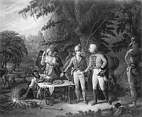 0038367 © Granger - Historical Picture ArchiveFRANCIS MARION (1732?-1795).   American Revolutionary soldier. Marion inviting a British officer to dine with him on roasted sweet potatoes. Mezzotint, 1840.