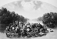 0050742 © Granger - Historical Picture ArchiveFRANCIS MARION (1732?-1795).   American Revolutionary soldier. Marion and his men crossing the Pee Dee River to harass the British in South Carolina during the American Revolutionary War. Steel engraving, 1851, after a painting by William Tylee Ranney.