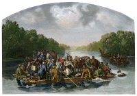 0053344 © Granger - Historical Picture ArchiveFRANCIS MARION (c1732-1795).   Marion and his men crossing the Pee Dee River to harass the British in South Carolina during the American Revolutionary War. Steel engraving, 1851, after a painting by William Tylee Ranney.
