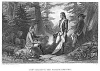 0060786 © Granger - Historical Picture ArchiveFRANCIS MARION (1732?-1795).   American Revolutionary soldier. Marion inviting a British officer to dine with him on roasted sweet potatoes; steel engraving, 19th century.