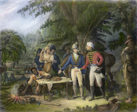 0072374 © Granger - Historical Picture ArchiveFRANCIS MARION (1732?-1795).   American Revolutionary commander. 'General Marion in his swamp encampment inviting a British officer to dinner.' Mezzotint, 1840, after a painting by John Blake White.