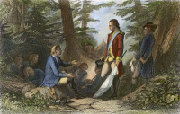0072376 © Granger - Historical Picture ArchiveFRANCIS MARION (1732?-1795).   American revolutionary soldier. Francis Marion inviting a British officer to dine with him on roasted sweet potatoes and cold water: steel engraving, 19th century.