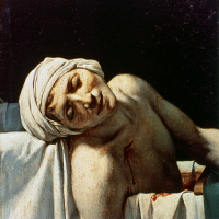 0322596 © Granger - Historical Picture ArchiveJEAN-PAUL MARAT (1743-1793).   French (Swiss-born) physician, journalist, and revolutionary politician. In his bath after being fatally stabbed by Charlotte Corday, 13 July 1793. Oil on canvas (detail), 1793, by Jacques Louis David.