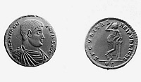 0070613 © Granger - Historical Picture ArchiveFLAVIUS POPILIUS MAGNENTIUS   (d.353 A.D.). Roman emperor of the West, 350-353. Contemporary silver medallion.
