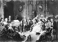 0064913 © Granger - Historical Picture ArchiveWOLFGANG AMADEUS MOZART   (1756-1791). Austrian composer. Leopold Mozart presenting his son, Wolfgang Amadeus, to Empress Maria Theresa and the Imperial Family at Schoenbrunn, 13 October 1762. Oil on canvas, 1869, by Eduard Ender.