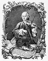 0175648 © Granger - Historical Picture ArchiveLEOPOLD MOZART (1719-1787).   German violinist, composer, and teacher; father of Wolfgang Amadeus Mozart. Line engraving, 1756, by Jacob Andreas Fridrich.