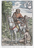 0104372 © Granger - Historical Picture ArchiveSAINT MARTIN (c316-397).   Also known as Saint Martin of Tours. French prelate. Woodcut, c1505, by Hans Baldung Grien after Albrect Dürer.