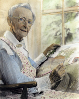 0067095 © Granger - Historical Picture ArchiveANNA MARY ROBERTSON.   (1860-1961). Known as Grandma Moses. American folk artist. Oil over a photograph, 1950s.