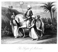 0005956 © Granger - Historical Picture ArchiveMOHAMMED (570-632).   Arabian prophet and founder of Islam. Mohammed's flight (hegira) from Mecca to Yathrib (modern Medina), arriving 20 September 622. Steel engraving, 19th century.