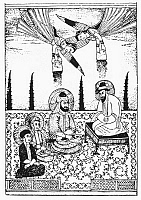 0055682 © Granger - Historical Picture ArchiveMOHAMMED, ALI, AND HASAN.   The prophet Mohammed with Ali, his adopted son, and Hasan and Husayn, sons of Ali and Fatimah, Mohammed's daughter. Line engraving after an Arabic print.