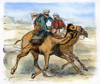 0076616 © Granger - Historical Picture ArchiveMOHAMMED (570-632).   Arabian prophet and founder of Islam. Mohammed's flight (hegira) from Mecca to Yathrib (modern Medina), arriving 20 September 622. Color engraving, 19th century.