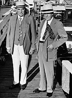 0114642 © Granger - Historical Picture ArchiveMORGAN & DAVIS, 1941.   American banker and financier, John Pierpont Morgan, Jr. (left), with politician John W. Davis, photographed while inspecting the deep-sea fishing fleet of the Montauk Yacht Club, 1941.