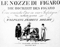 0038847 © Granger - Historical Picture ArchiveMOZART: MARRIAGE OF FIGARO.   Engraved title page of a vocal score depicting the scene from Wolfgang Amadeus Mozart's 'The Marriage of Figaro' ('Le Nozze di Figaro') in which Count Almaviva discovers Cherubino hiding in the Countess' chambers, c1800.